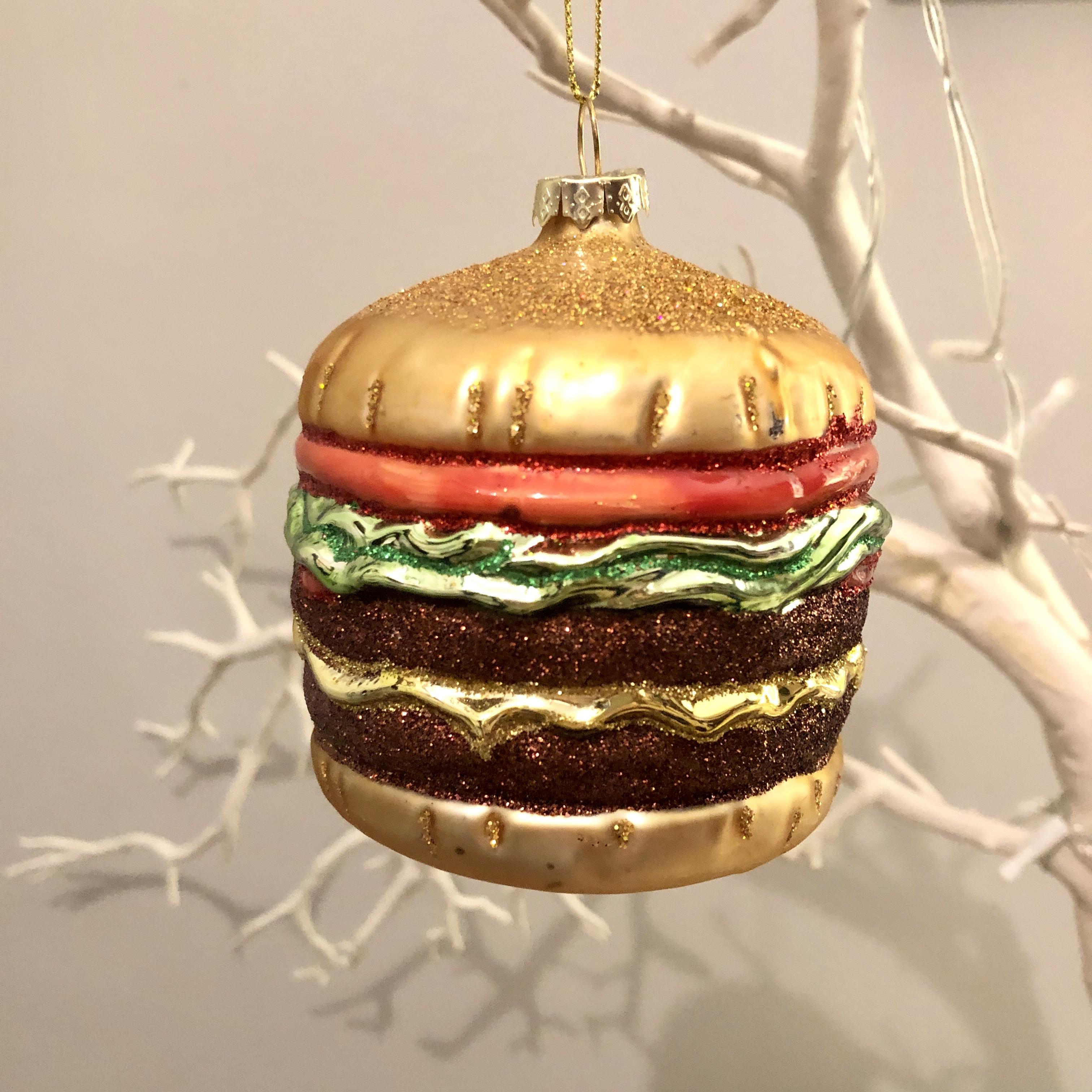 Glass hamburger Christmas decoration by shoeless joe