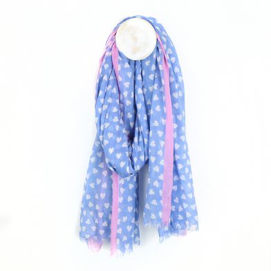 Blue and white heart scarf with pink boarder by POM