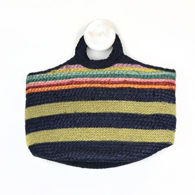 Natural jute bag with rainbow & gold stripes. Beachbag by POM