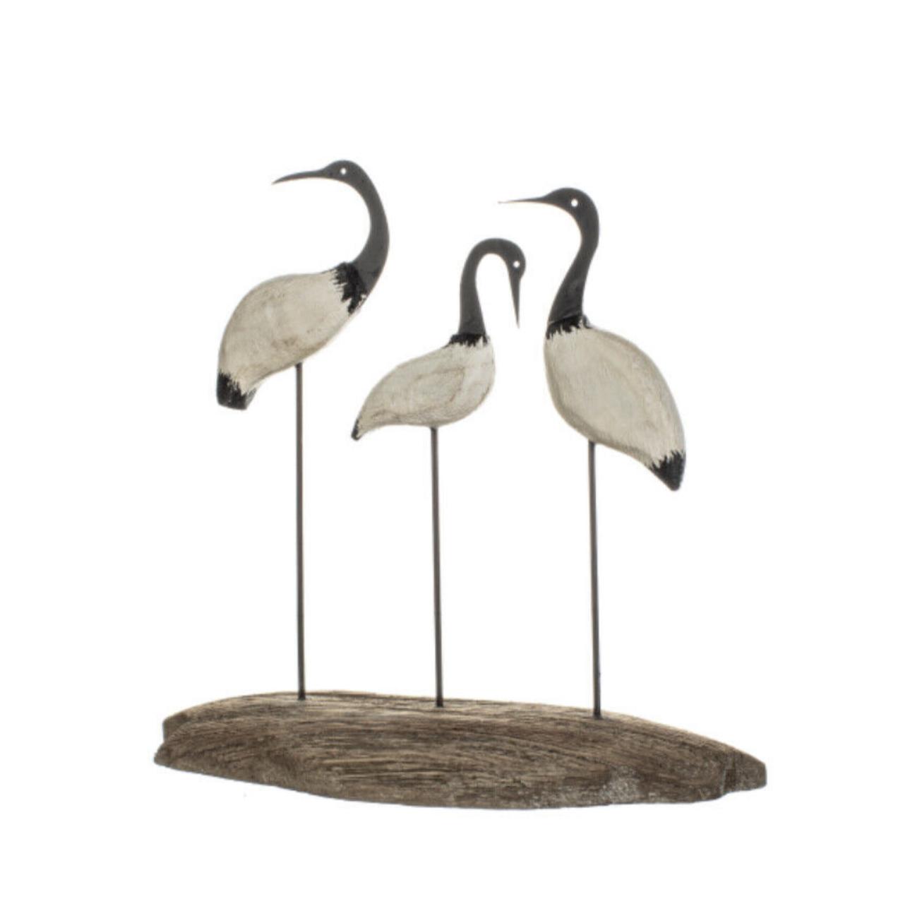 Three shore birds on wood, ornament by shoeless joe