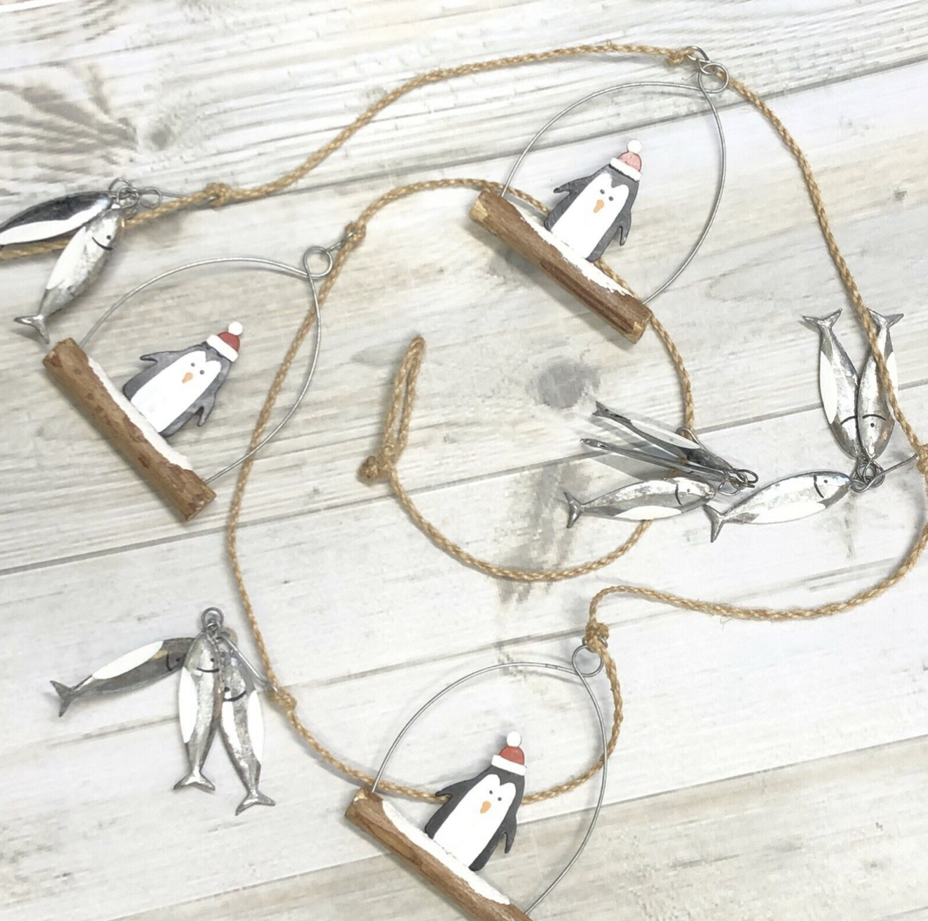Christmas penguins & fish garland. Festive bunting by shoeless joe