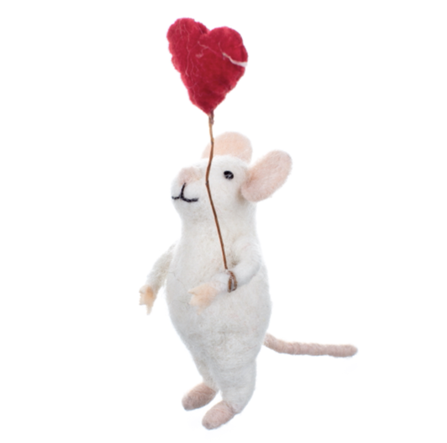 Mouse with heart felted ornament by shoeless joe