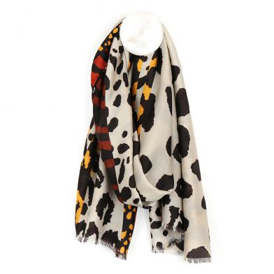 Taupe mix large animal print scarf By POM