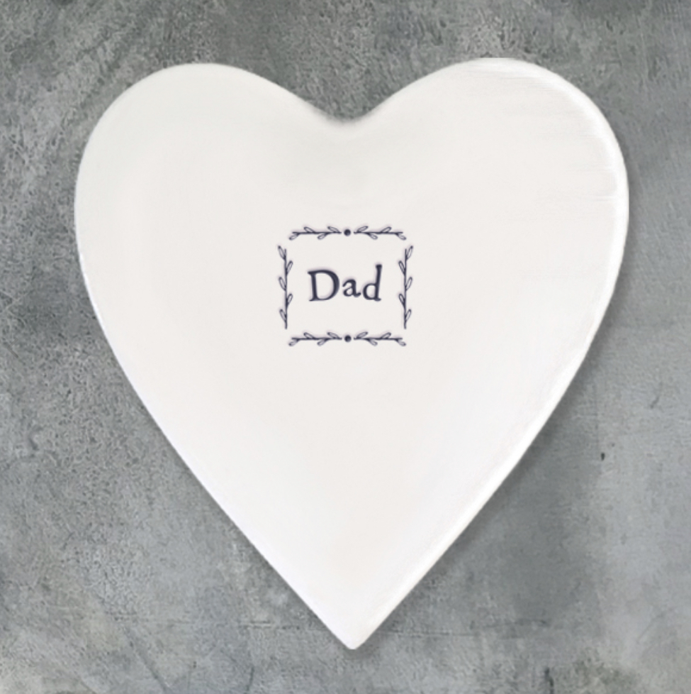 Dad porcelain heart shaped coaster by east of India