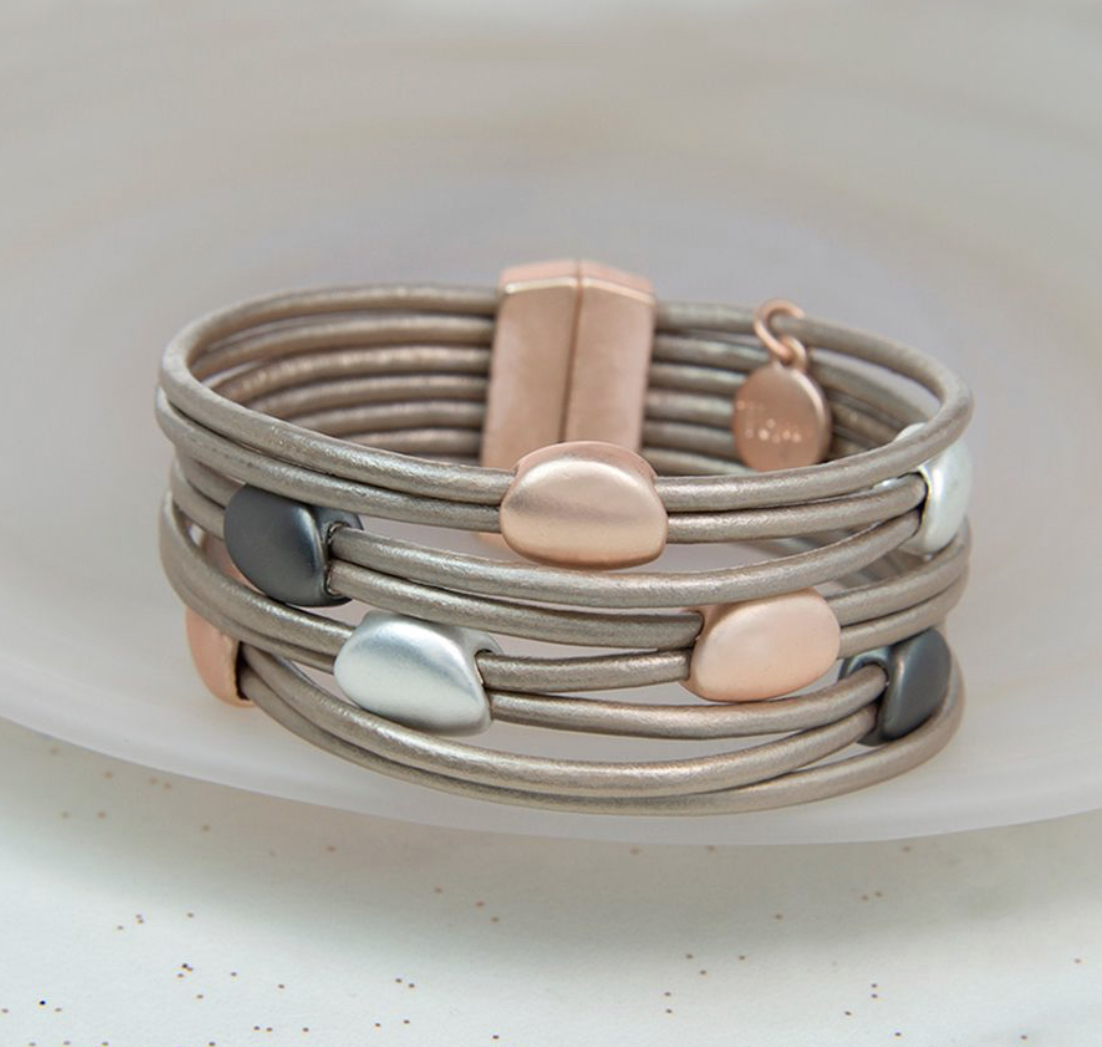Taupe Leather Mixed Metallic Pebbles Bracelet by Pom piece of mind