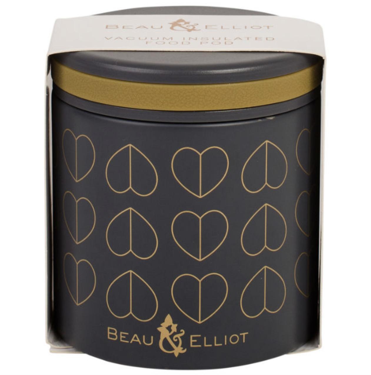 DOVE FOOD FLASK 400ML GREY HEART DESIGN BY BEAU & ELLIOT