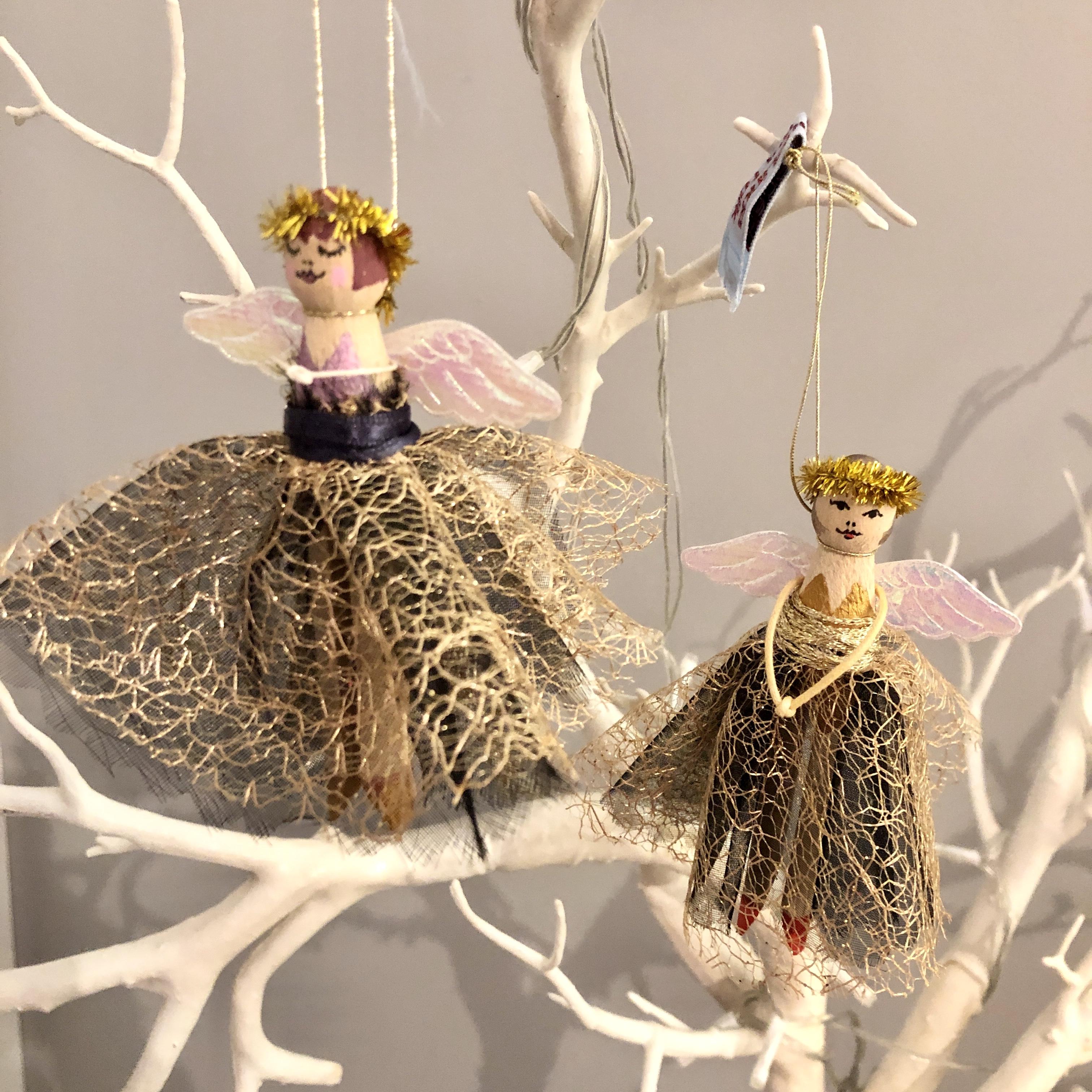 Black & gold skirt peg doll fairy Christmas decoration by HandmadeLinda