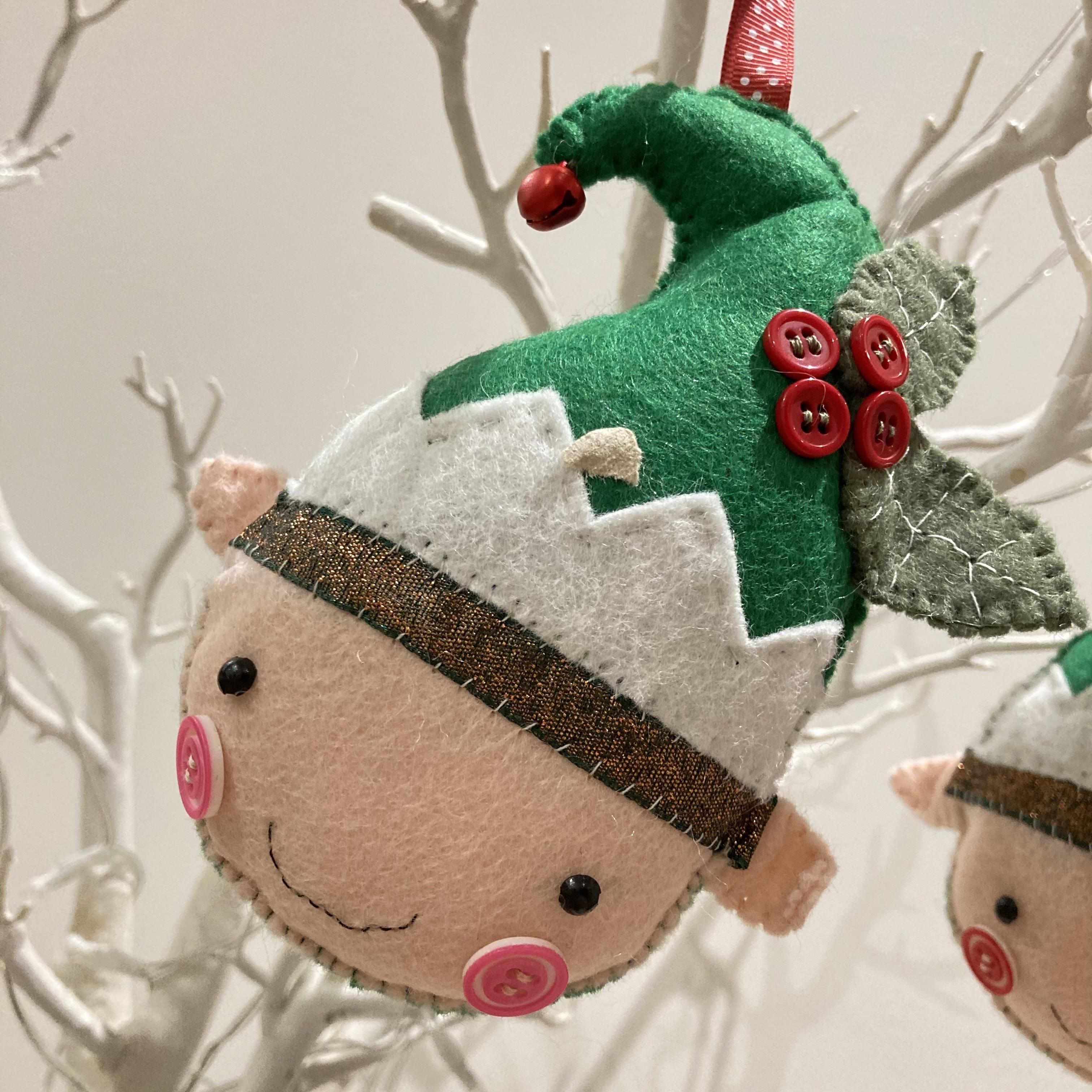 Elf head felt handmade Christmas decoration