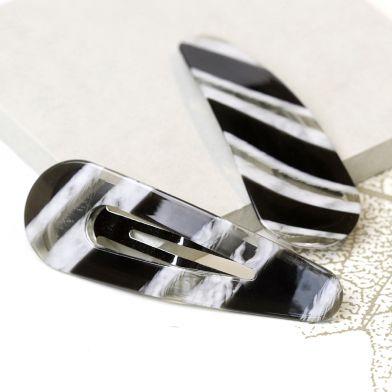 Black / white zebra acrylic shell style hair clip pack of 2