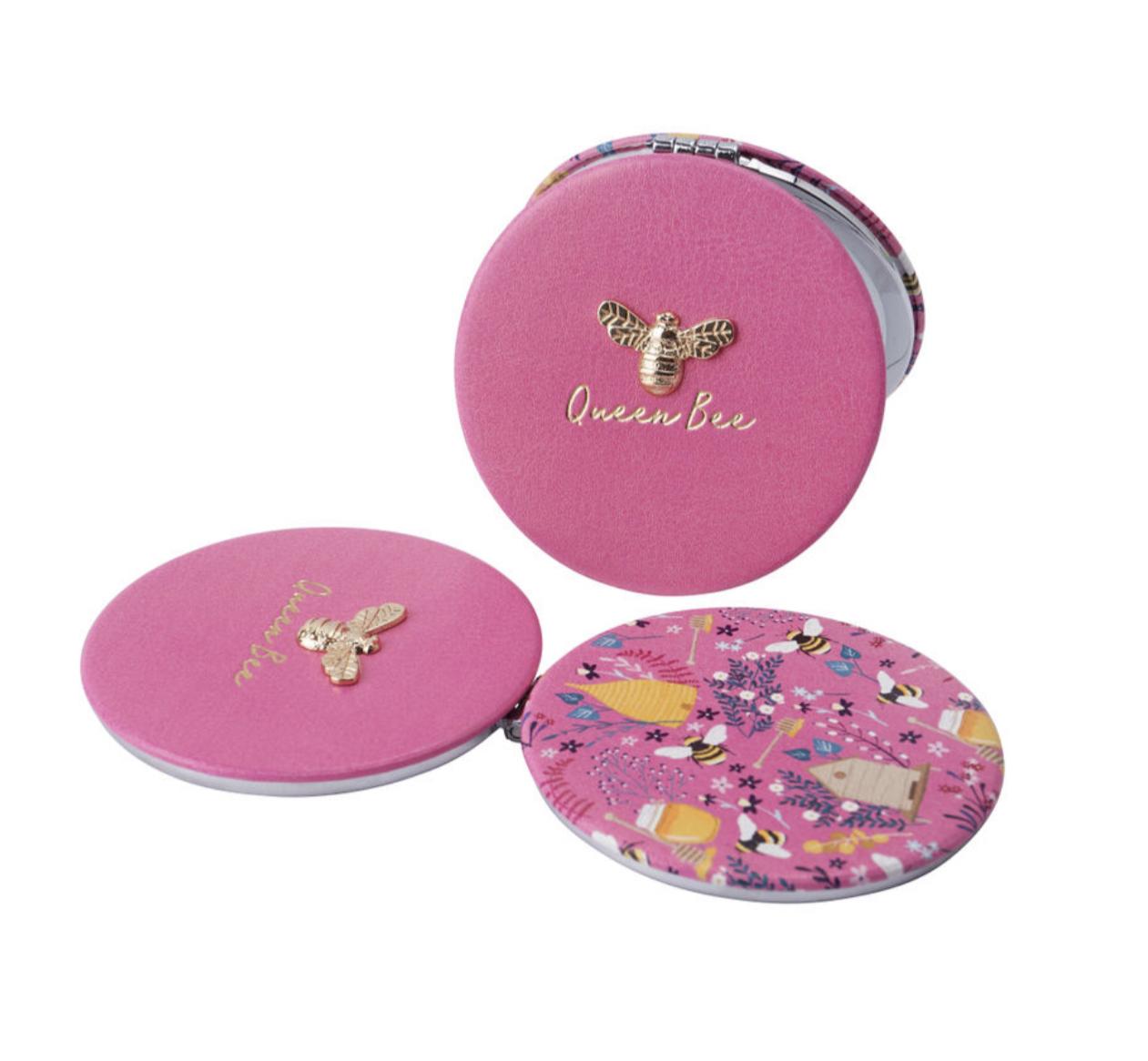 The Beekeeper 'Queen Bee' Pink Compact Mirror