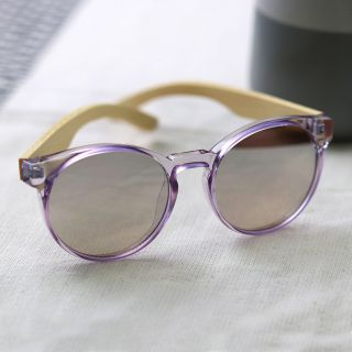 Pale lilac polycarbonate  + bamboo sunglasses by POM