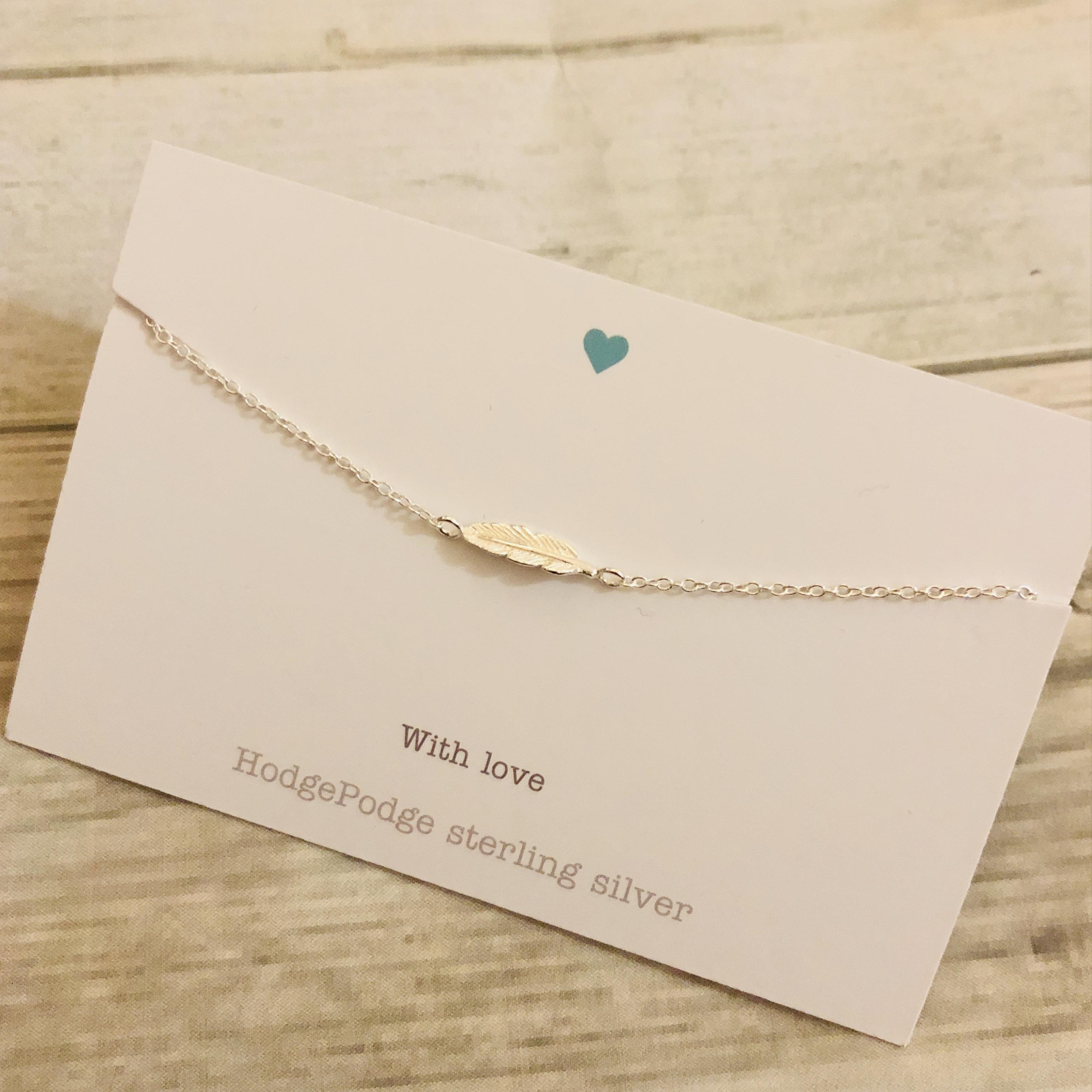 Dainty feather bracelet sterling silver