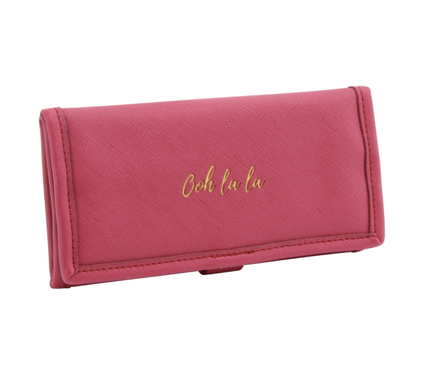 OOH LA LA BERRY JEWELLERY ROLL. Pink travel jewellery roll.