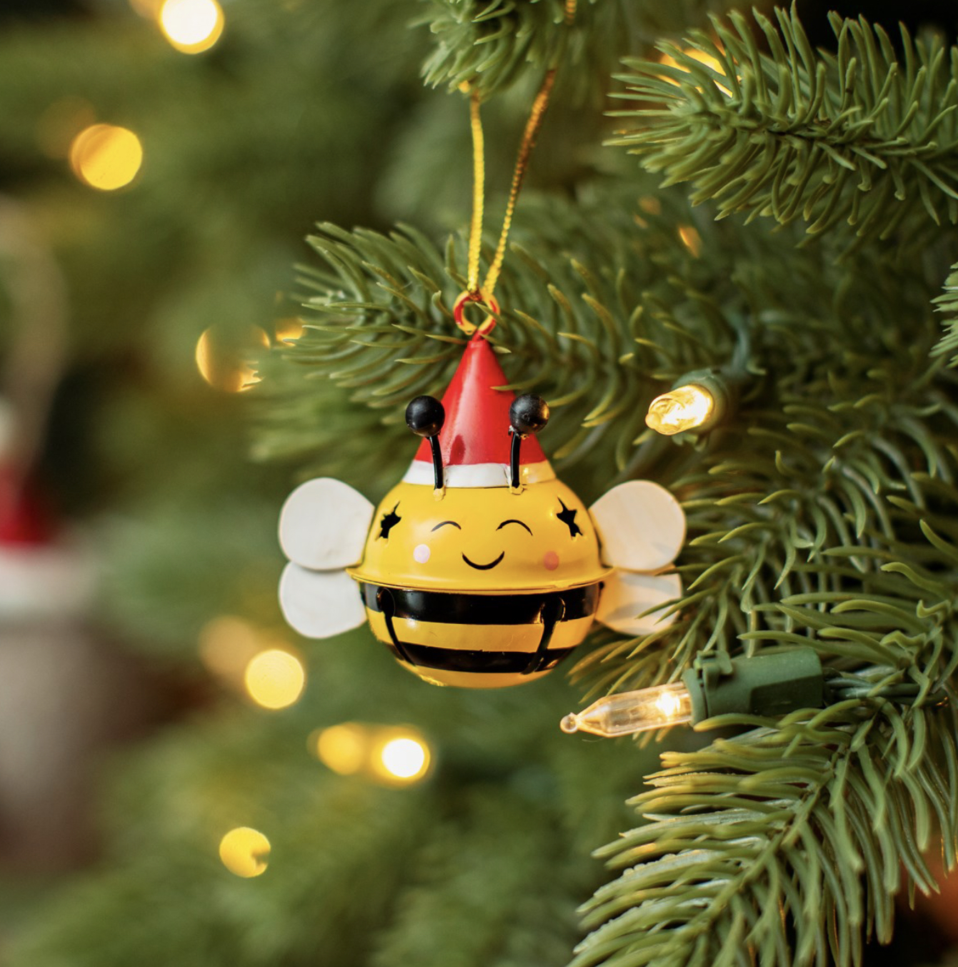Bee hanging bell Christmas decoration by sass &belle