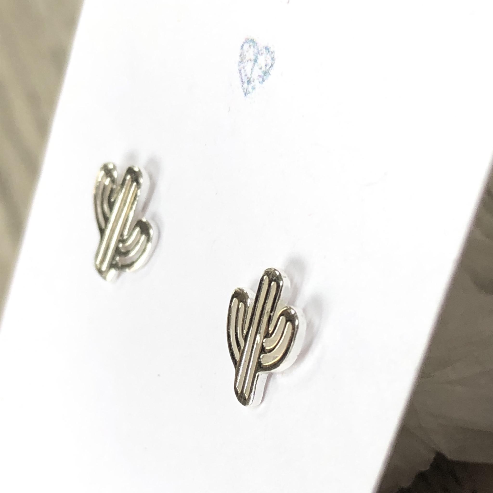 Cactus sterling silver stud earrings