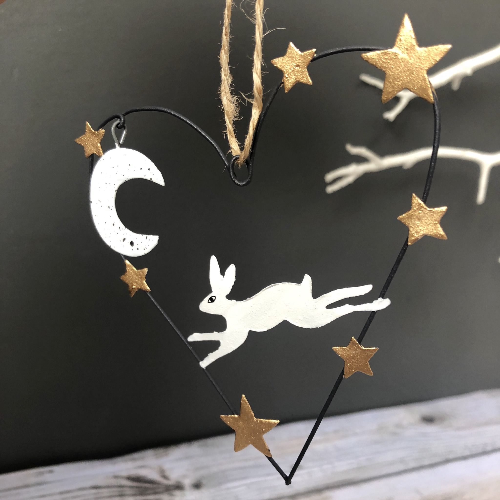 Artic hare heart hanging Christmas decoration by shoeless joe