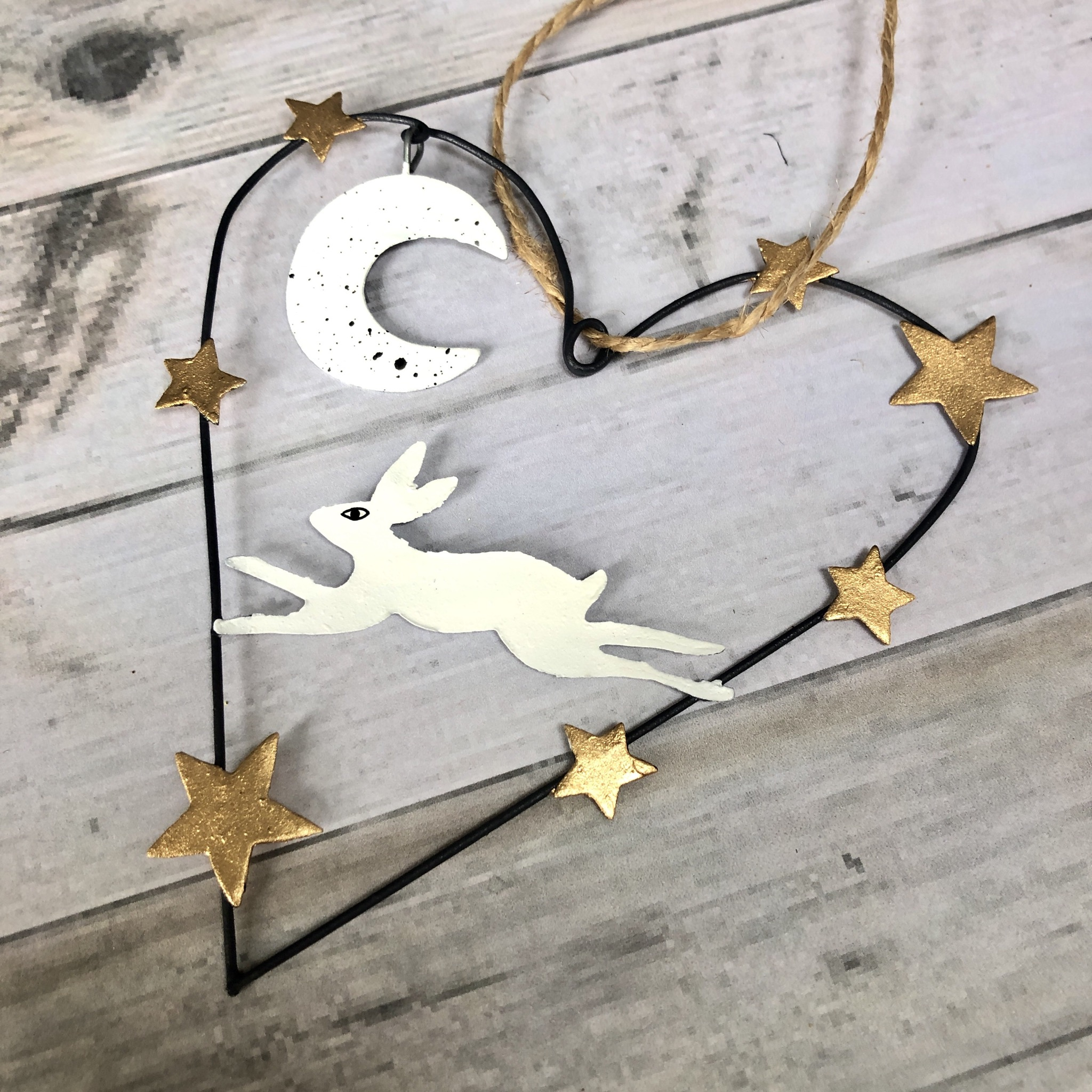 Artic hare heart hanging Christmas decoration by shoeless joe