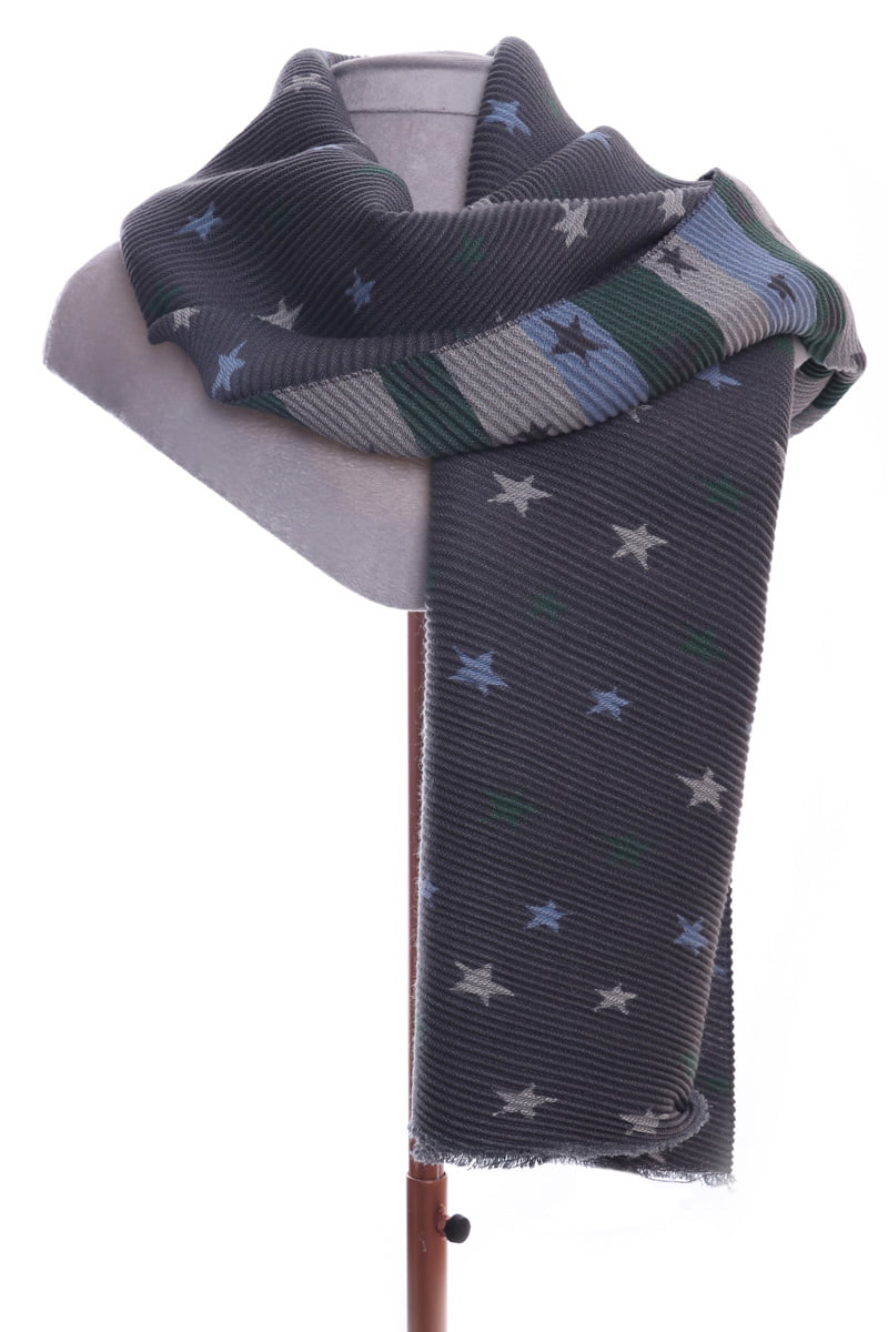 Grey star pleated scarf by Zelly