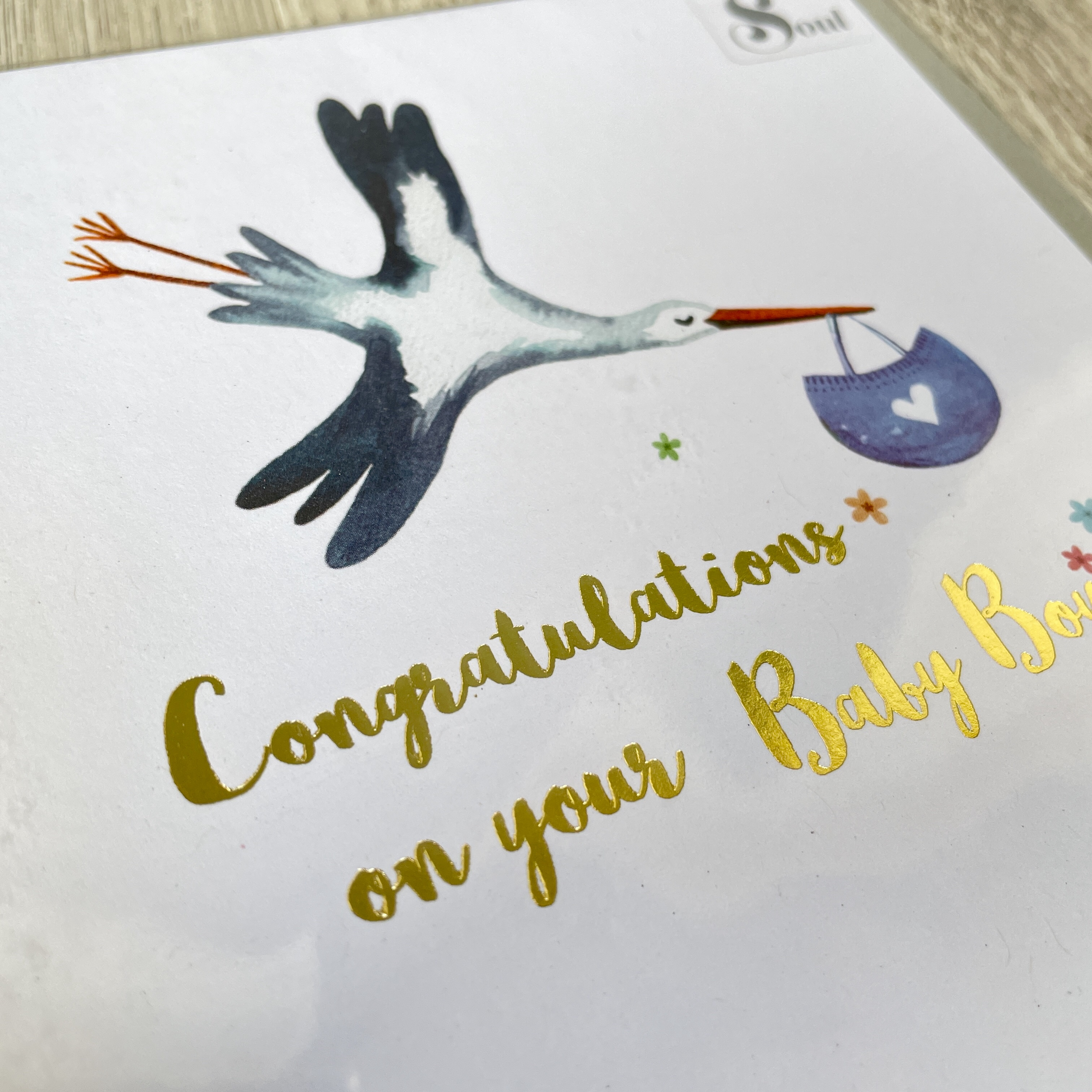 Baby boy stork card