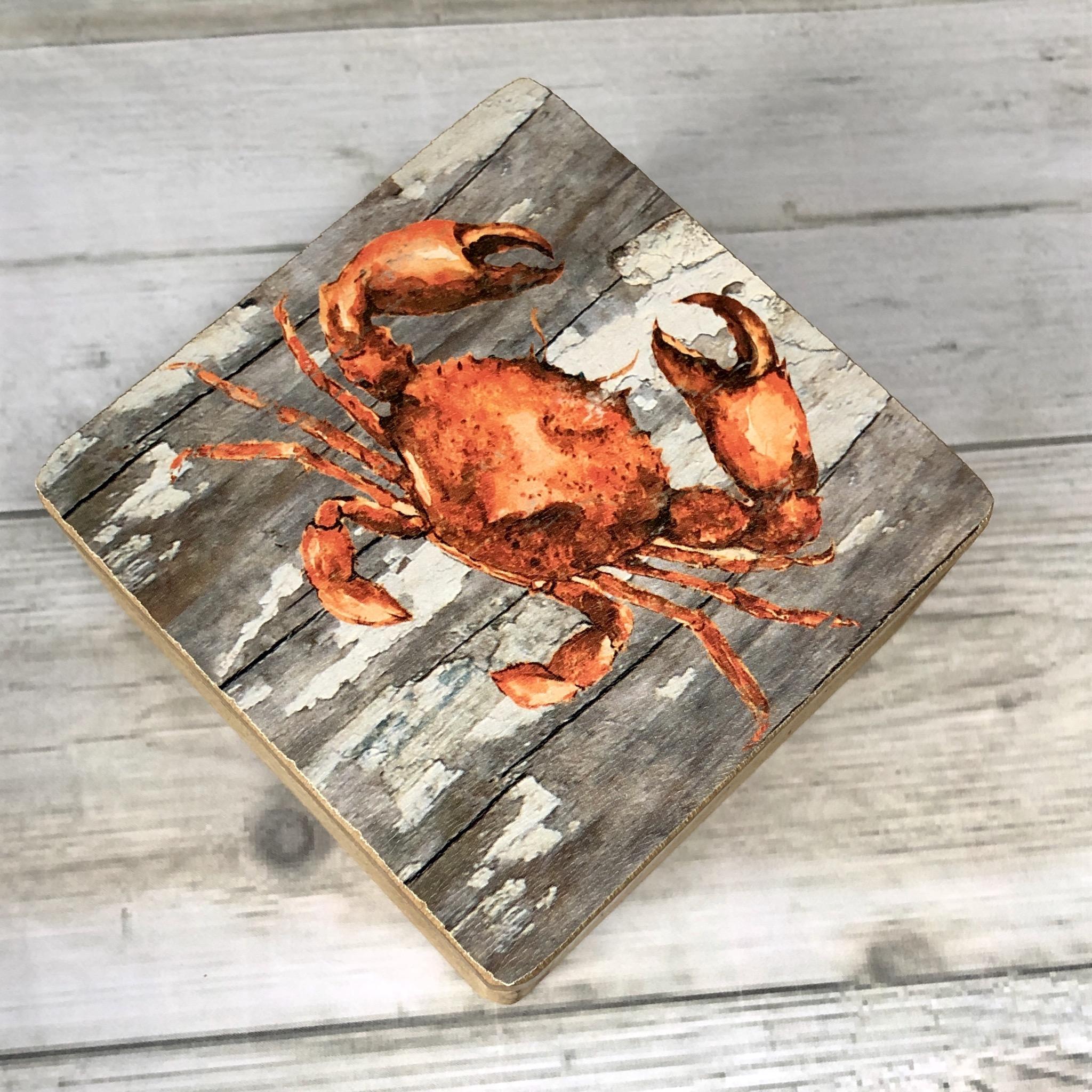 Crab trinket box wooden by shoeless joe