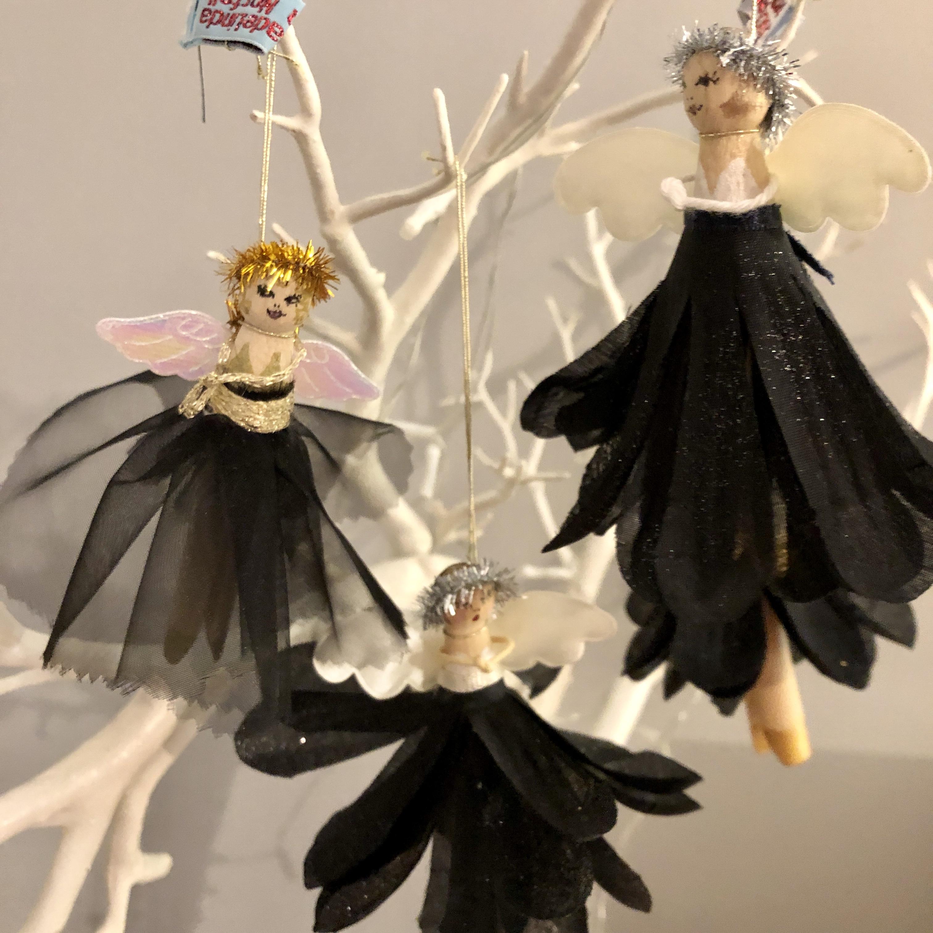 Black skirt peg doll fairy Christmas decoration by HandmadeLinda