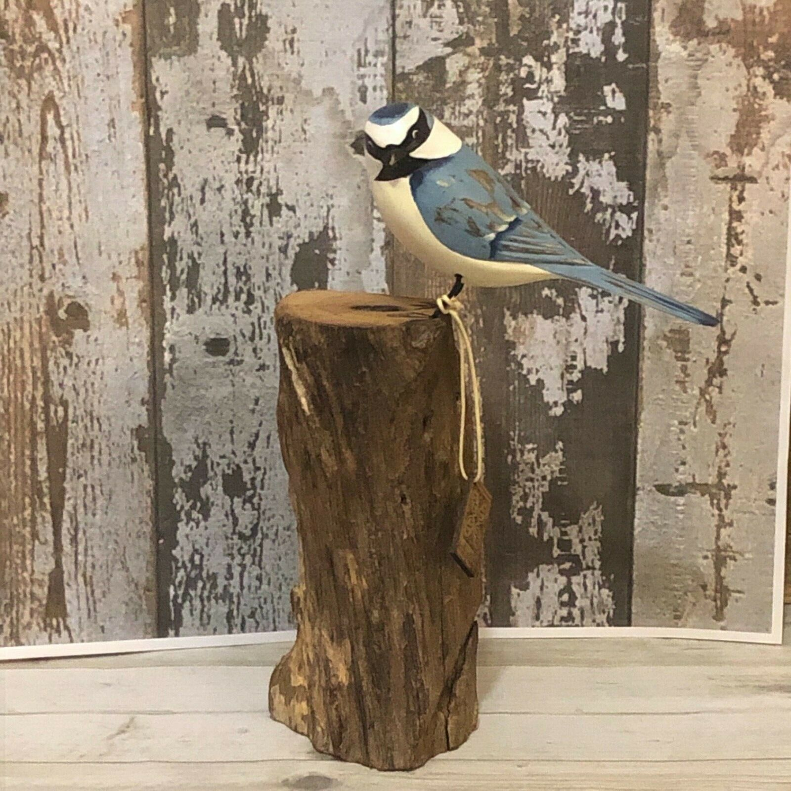 ARCHIPELAGO Fair Trade wooden Bird carving - D306-Blue tit.