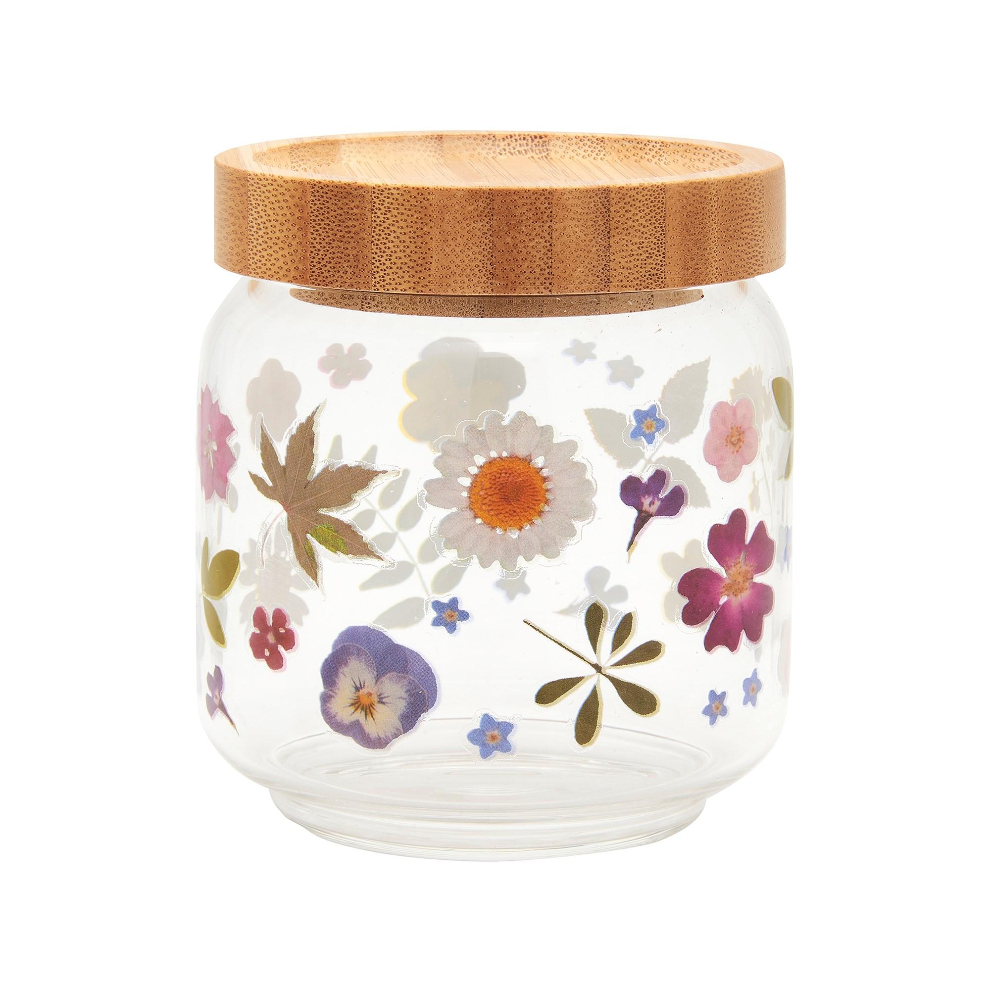 Pressed flowers glass storage jar -small. Sass & Belle