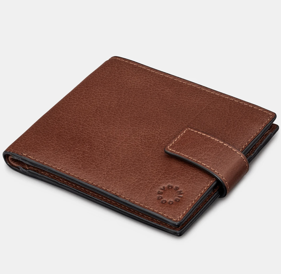 YOSHI TWO FOLD BROWN LEATHER WALLET WITH TAB