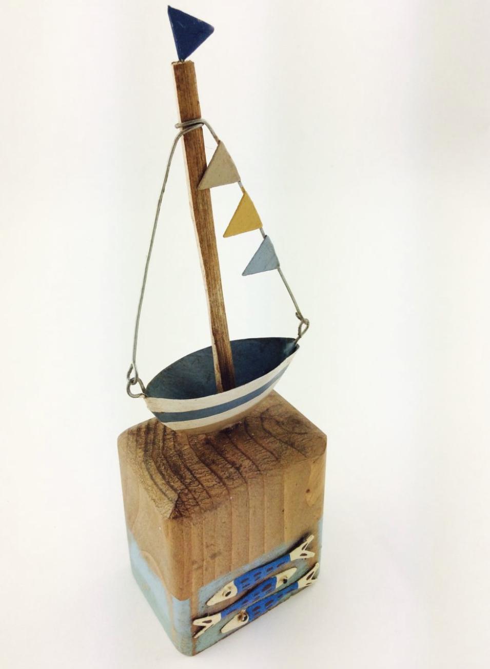 Flagged yacht on wooden block ornament by  shoeless joe