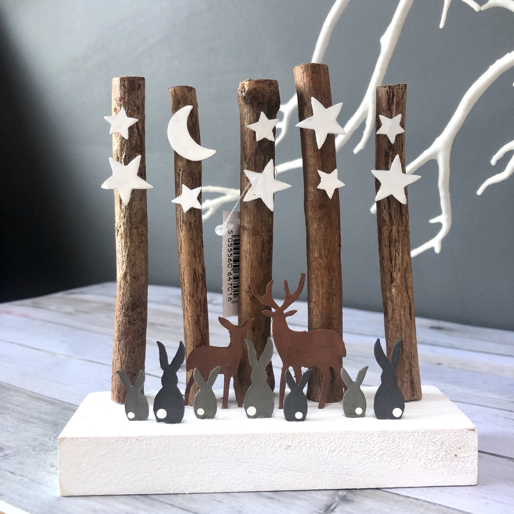 Deers and rabbits under a starry sky. Ornament by shoeless joe