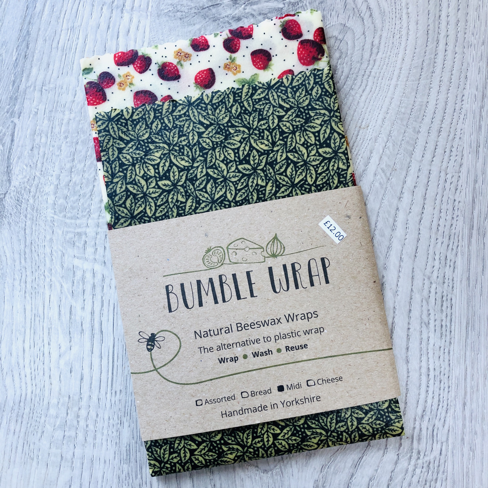 Bumble wrap strawberry print, natural beeswax wraps
