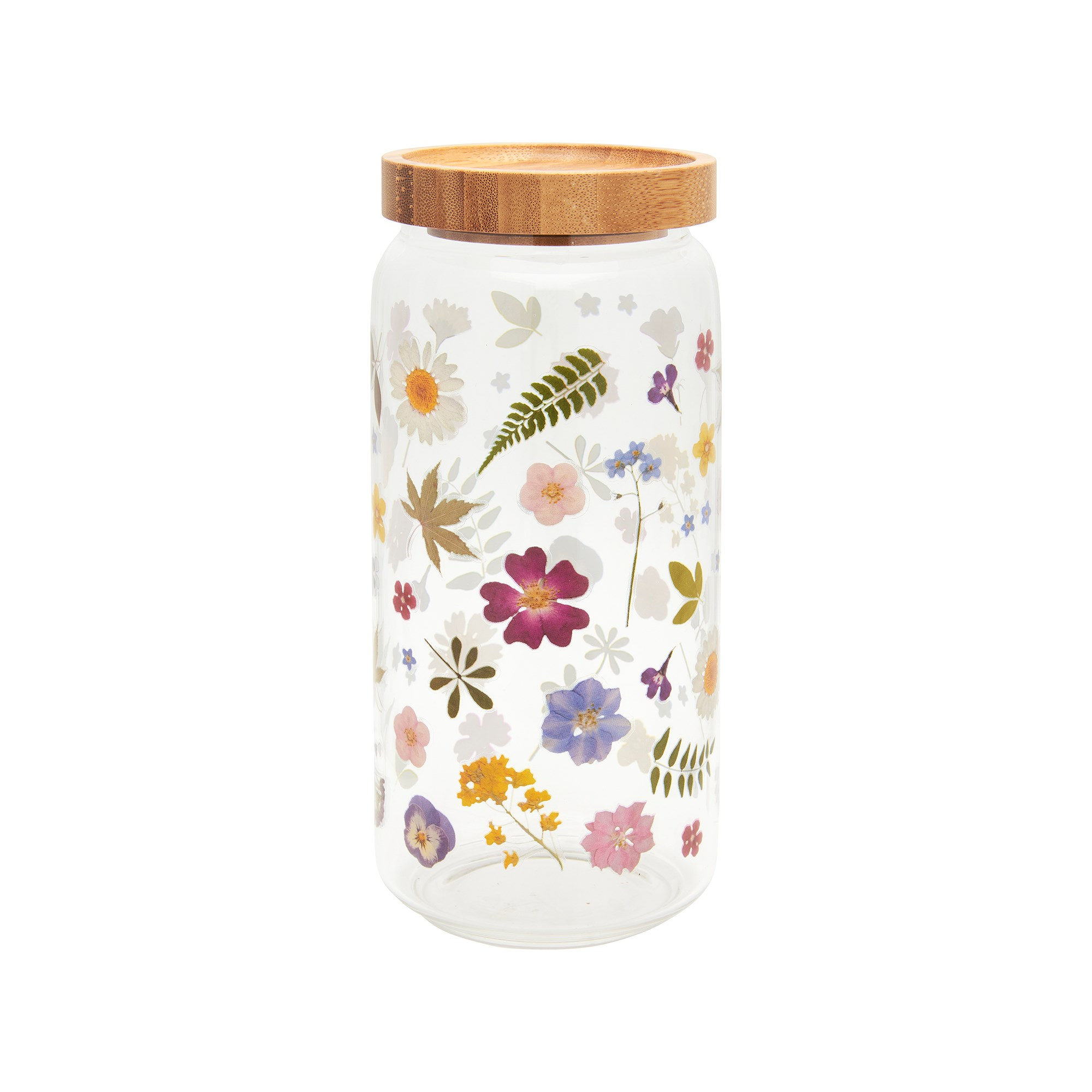 Pressed flowers glass storage jar large. Sass and belle
