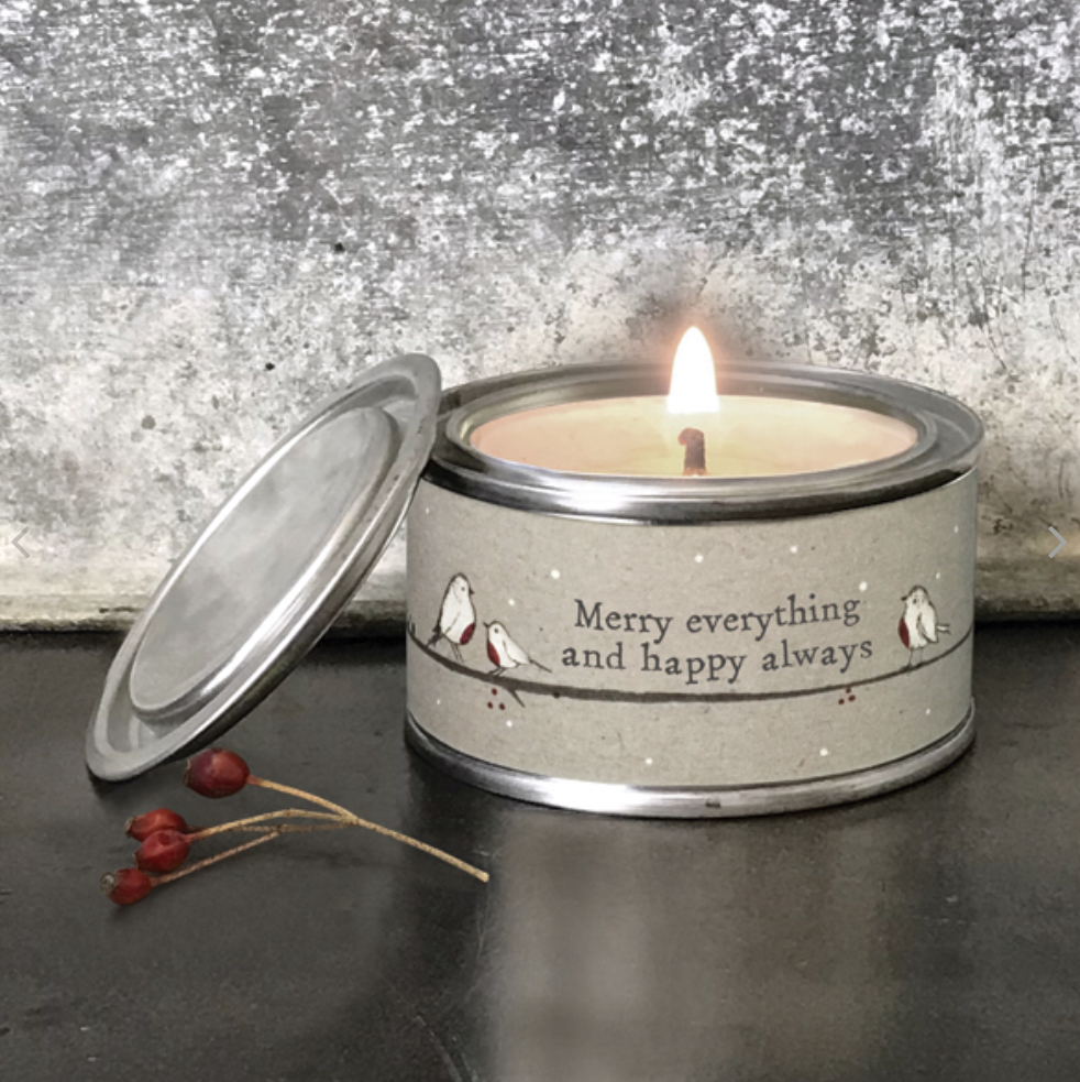 Merry everything & happy always tinned candle by east of India