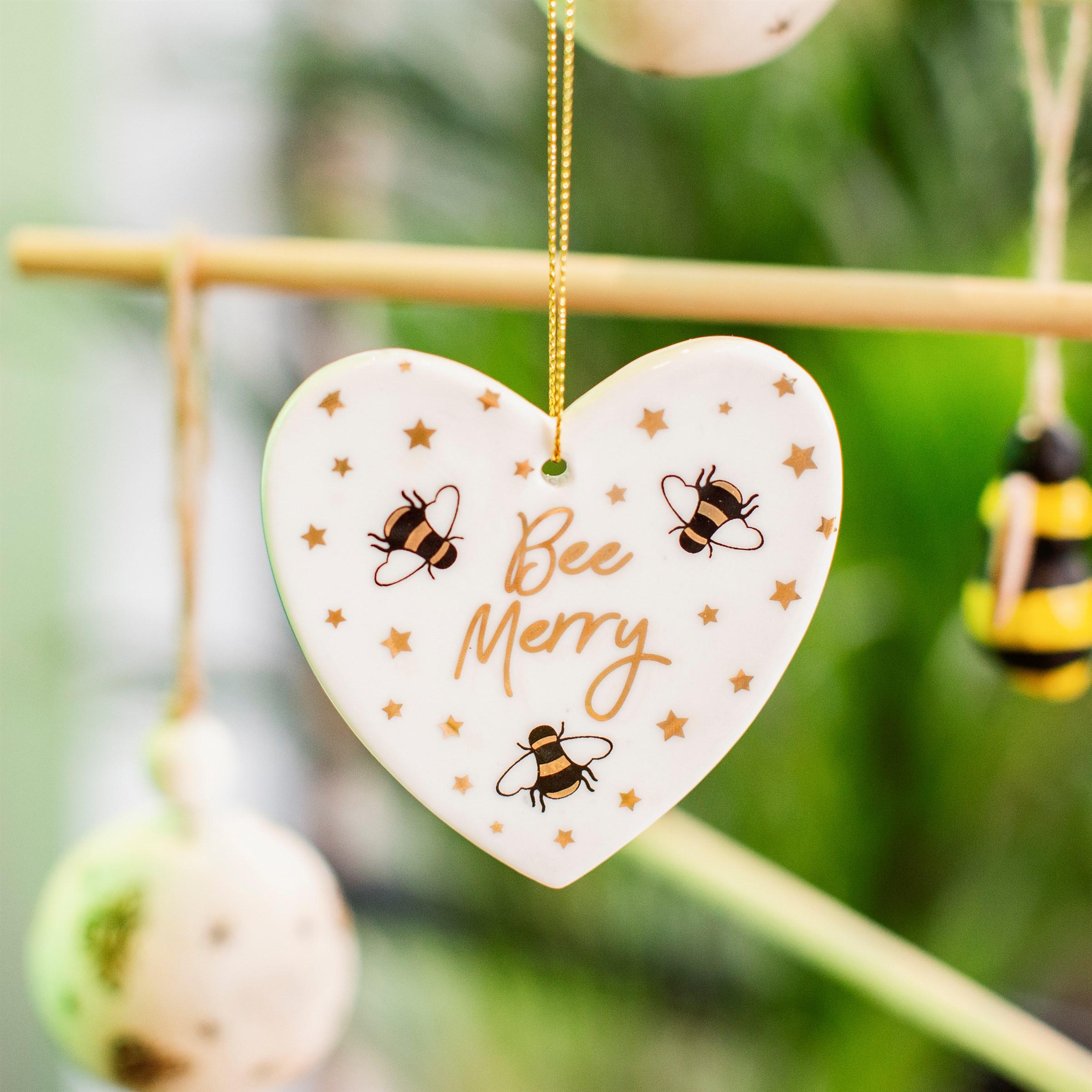 Bee Merry ceramic heart decoration