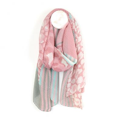 Pink & grey crinkle scarf with mixed print by POM