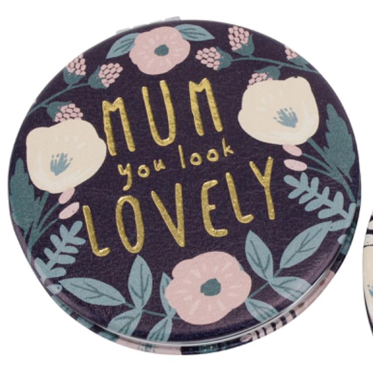 'MUM YOU LOOK LOVELY' COMPACT MIRROR. Handbag travel compact mirror