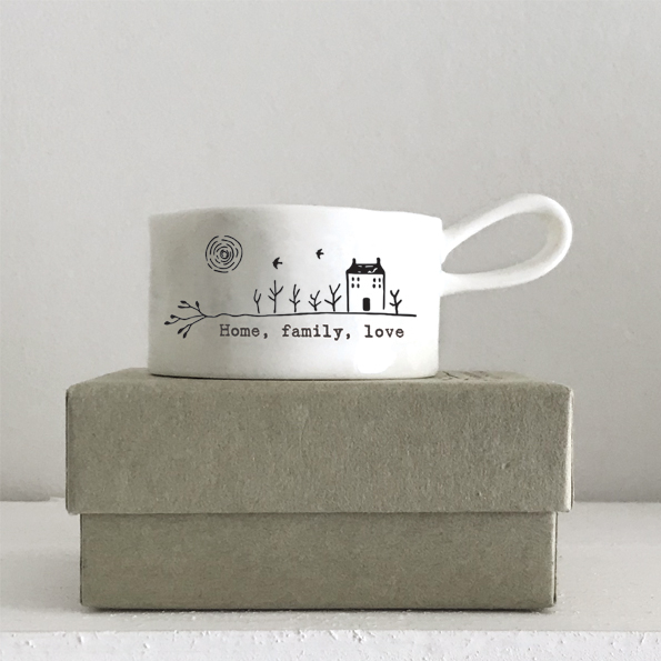 Home , family, love boxed ceramic tea light holder by east of India