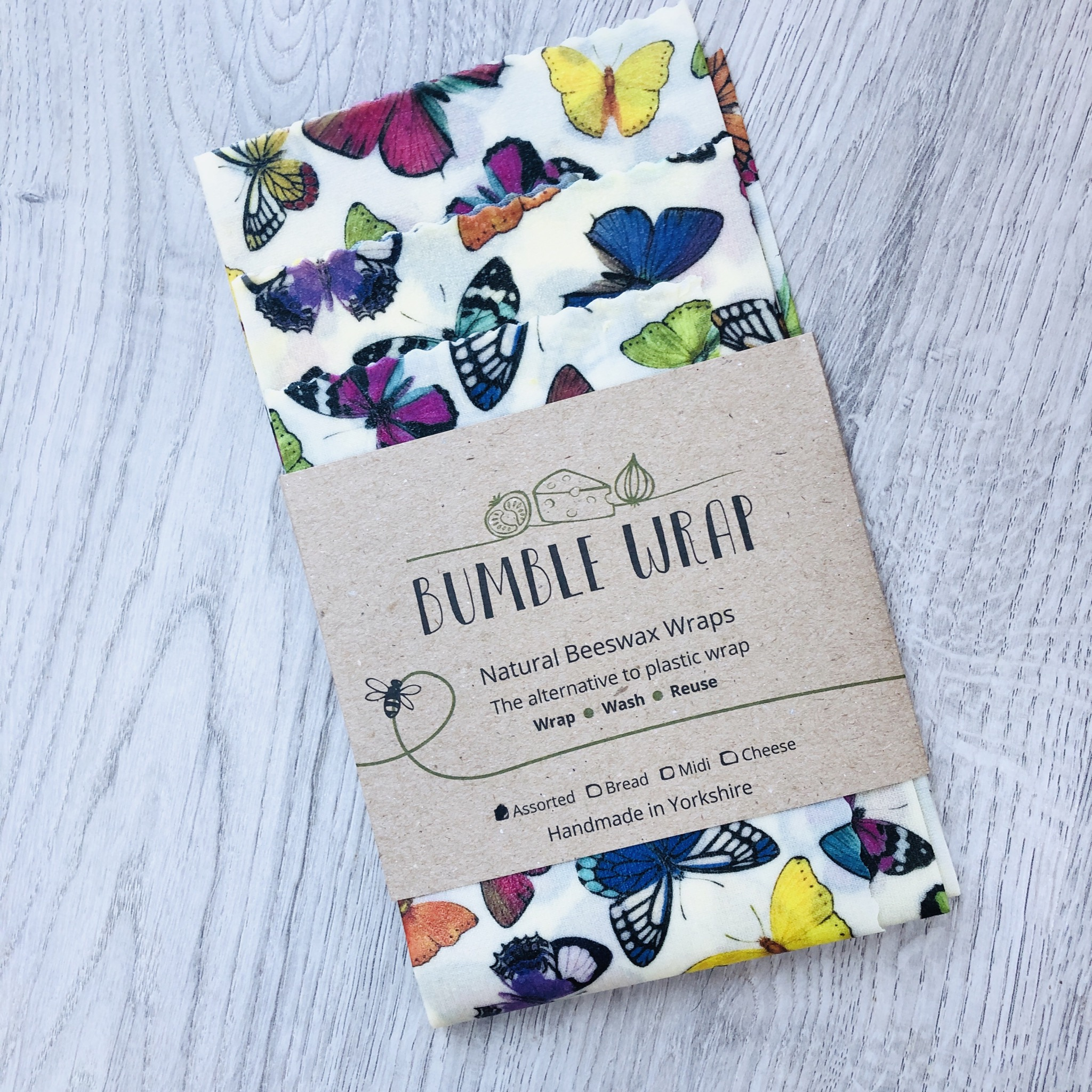 Bumble wrap, butterflies. Natural beeswax wraps