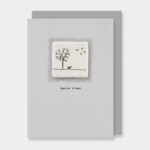 Embroidered card-Special friend. East of India greetings cards