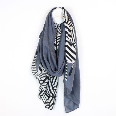 Graphic zebra print scarf with grey border by POM