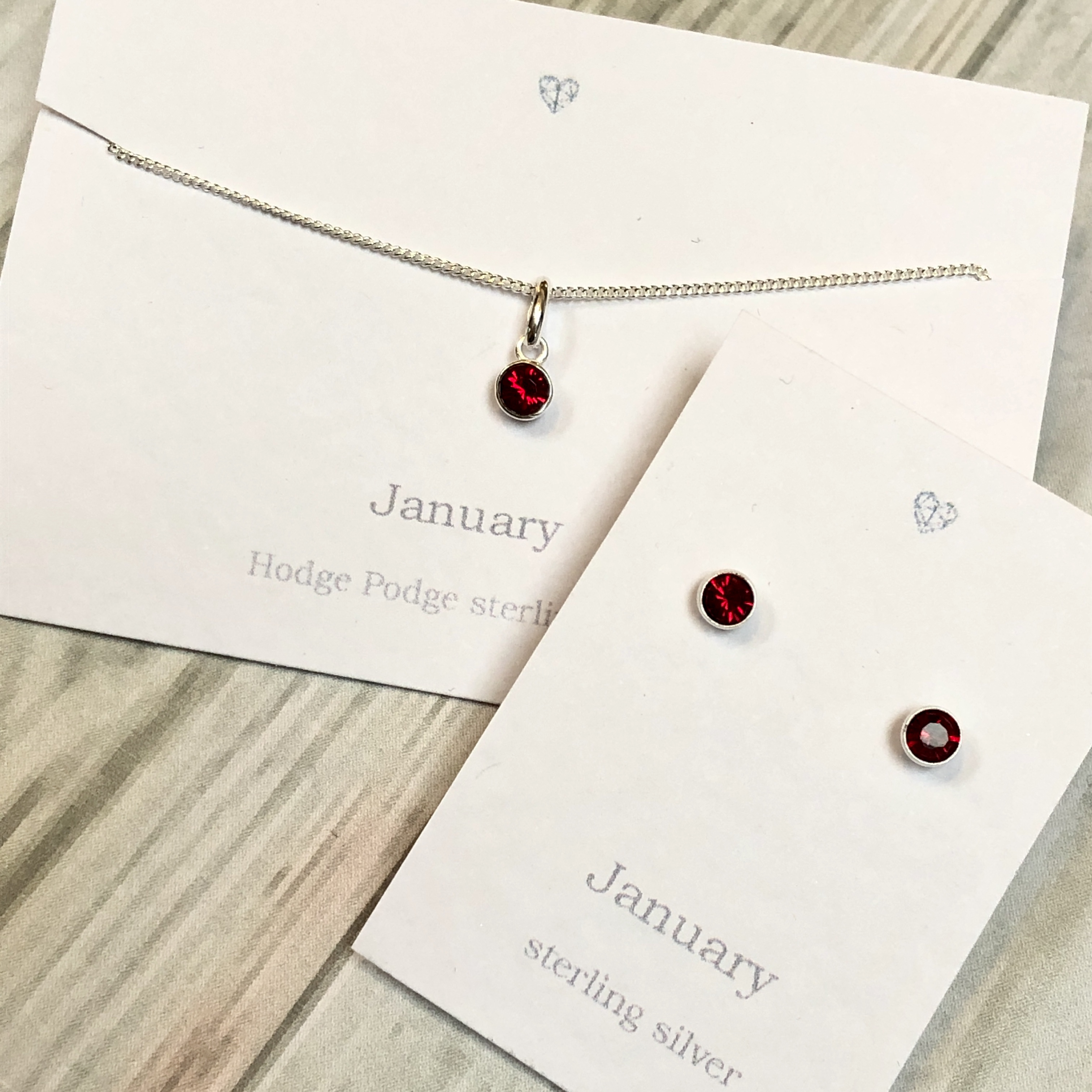 Necklace and earring birthstone set. Sterling silver.