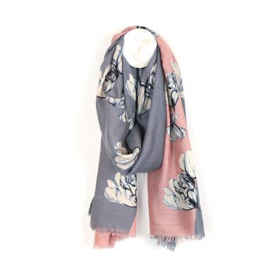 Diagonal pink and grey floral scarf by POM