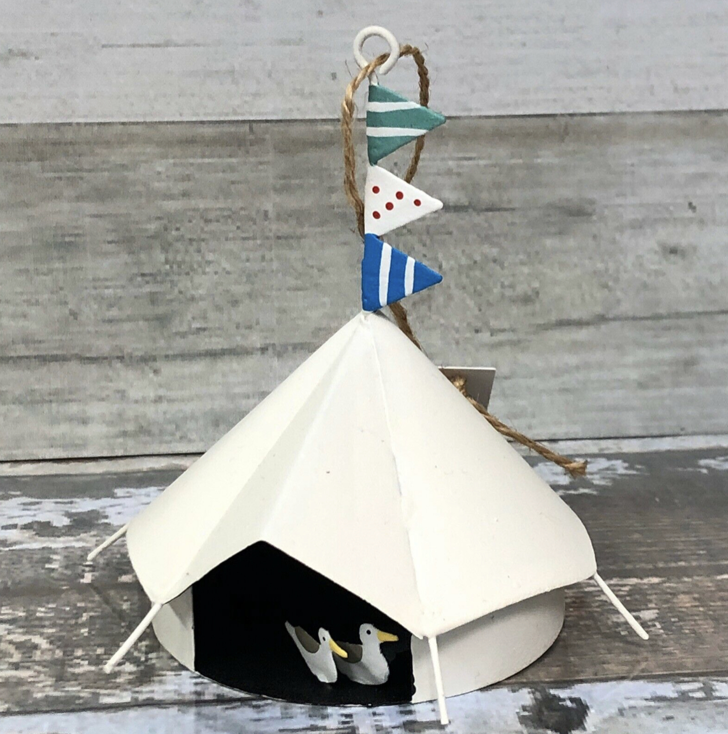 Glamping tent with seagulls. Campsite hanging decoration by shoeless joe