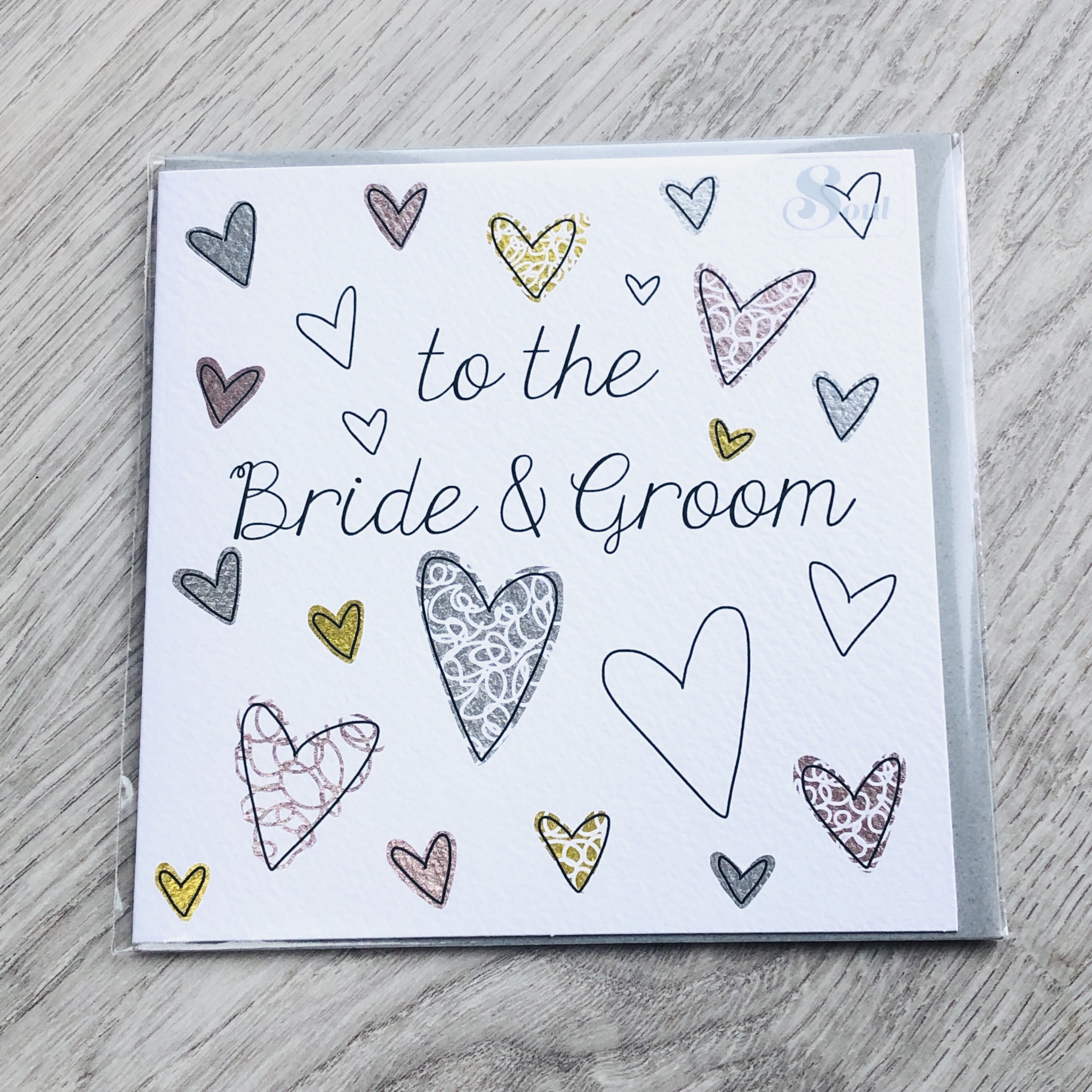 To the bride & groom, wedding card.