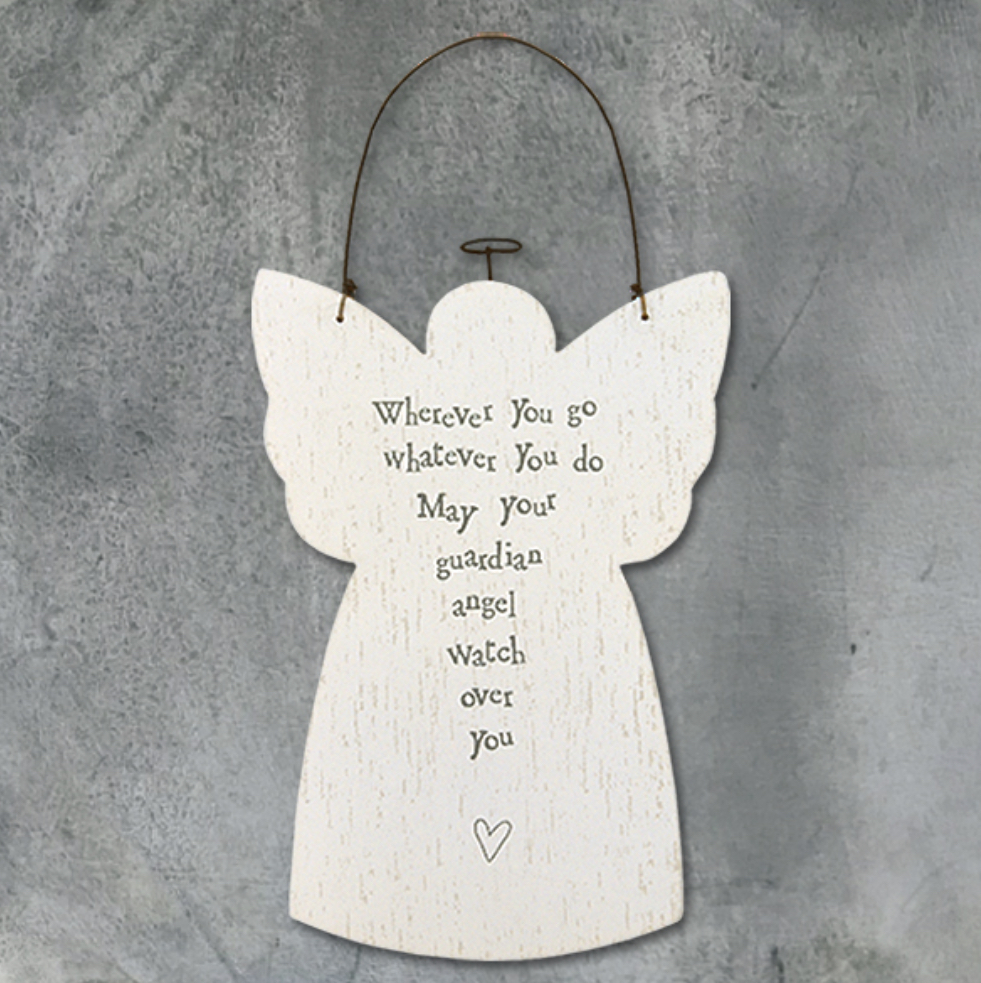 Wooden hanging guardian angel sign. Wherever you go whatever you do may your guardian angel watch over you.