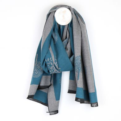 Teal /grey tree of life mulberry soft handle reversible scarf / wrap by Pom