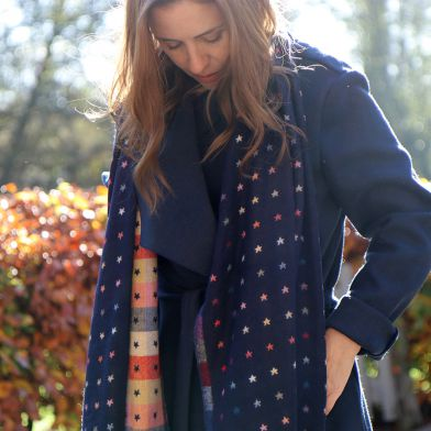 Navy blue and multi coloured check scarf with little jacquard stars