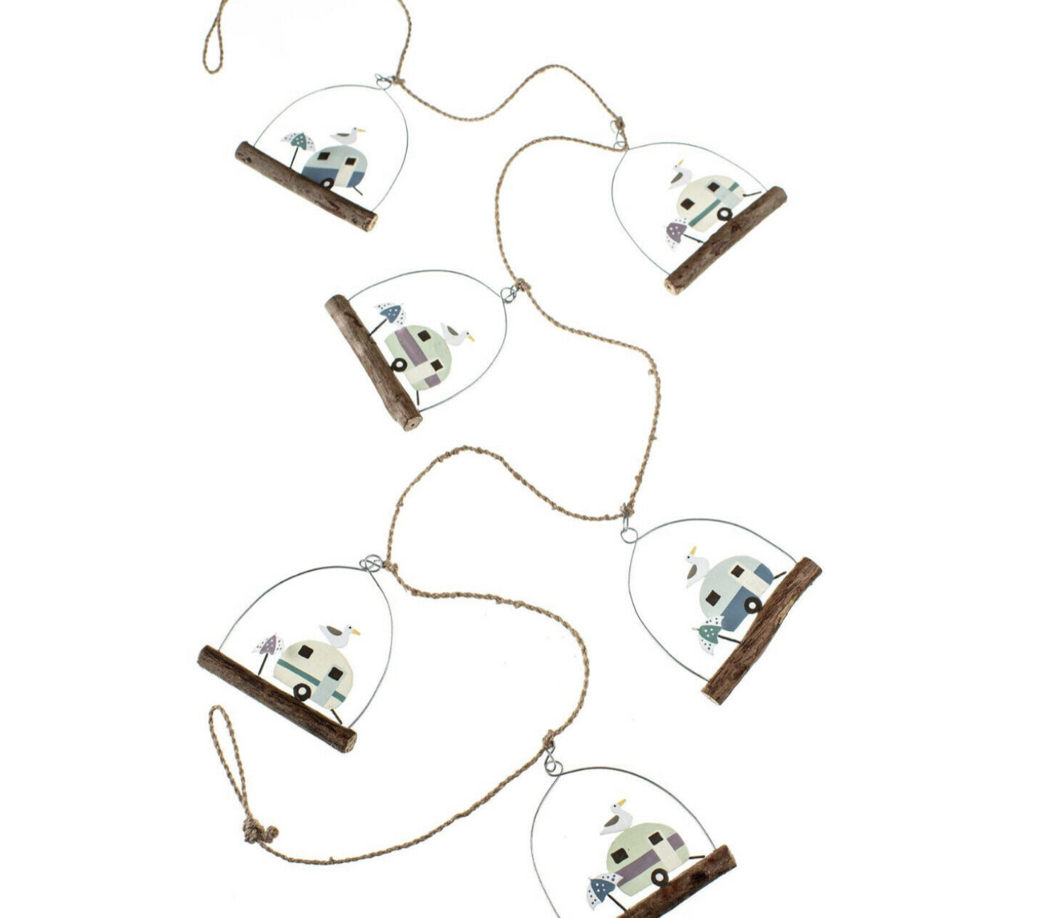 Retro caravan hanging garland by shoeless joe
