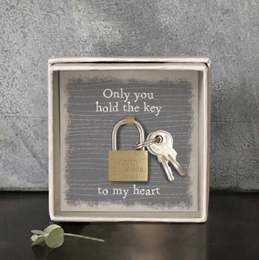 Only you hold the key to my heart boxed padlock and key keepsakes by East of India.