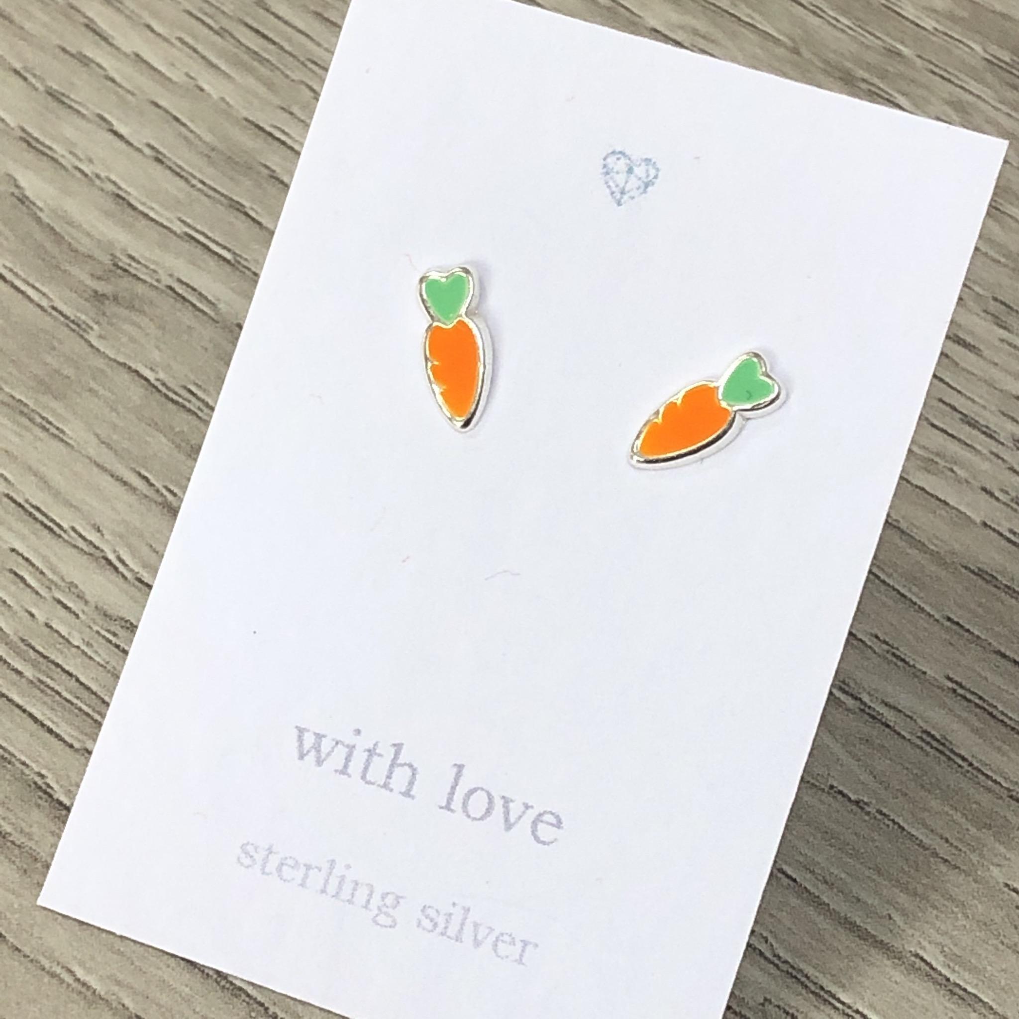 Carrot sterling silver stud earrings